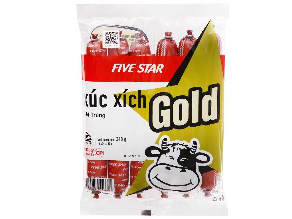 Xúc xích bò tiệt trùng Five Star C.P Gold gói 240g 1
