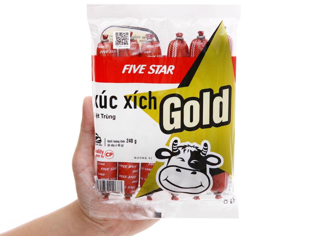 Xúc xích bò tiệt trùng Five Star C.P Gold gói 240g 4