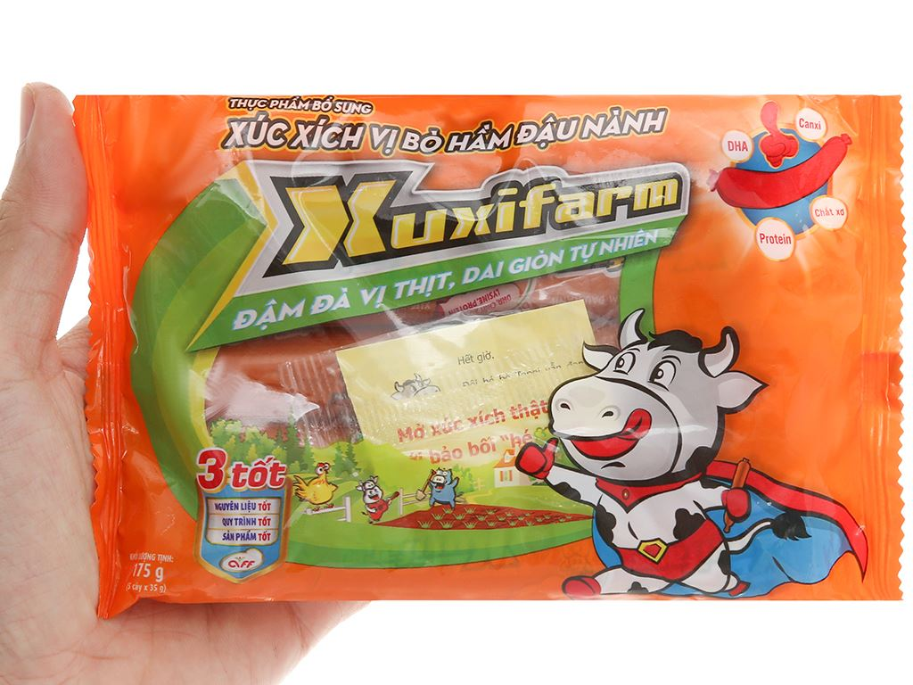 Xúc xích vị bò hầm đậu nành Xuxifarm gói 175g 4