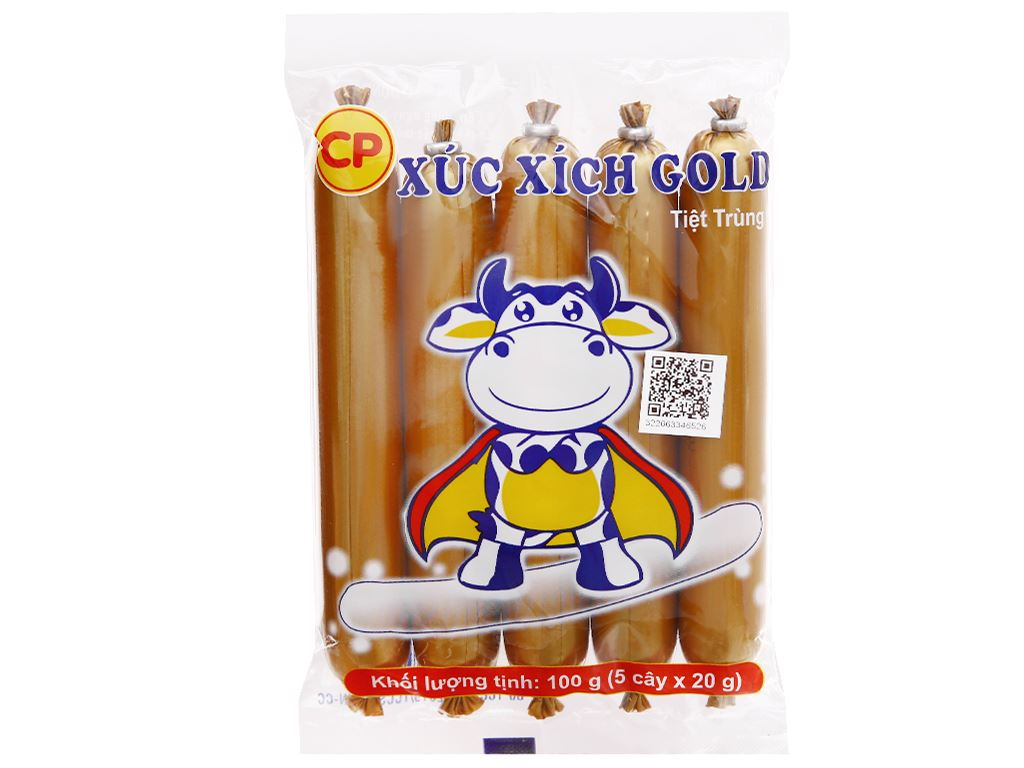 Xúc xích bò tiệt trùng C.P Gold gói 100g 1