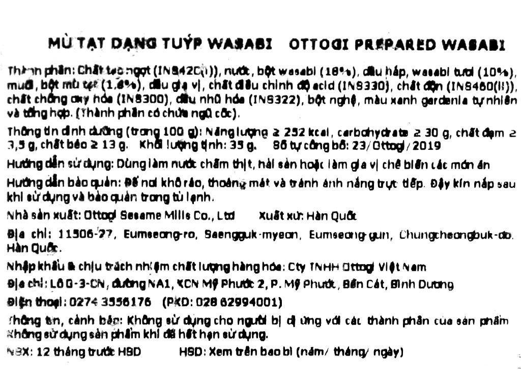 Mù tạt wasabi Ottogi tuýp 35g 3