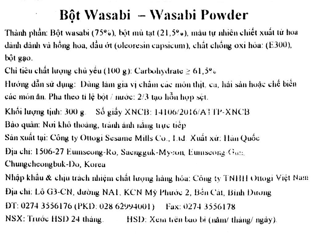 Bột wasabi Ottogi gói 300g 3
