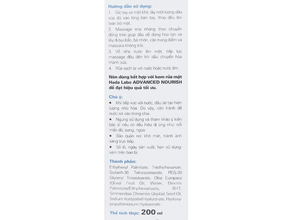 Dầu tẩy trang Hada Labo sạch sâu dưỡng ẩm 200ml 6