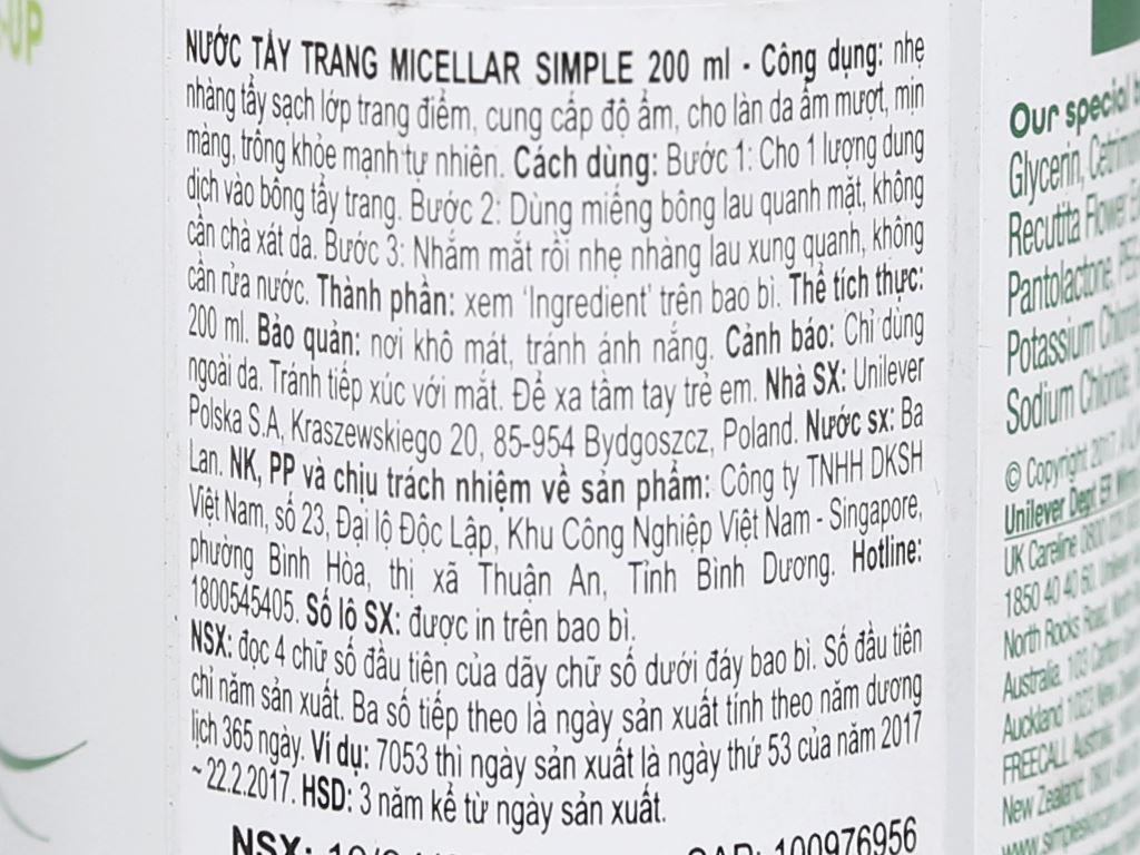 Nước tẩy trang micellar Simple 200ml 3