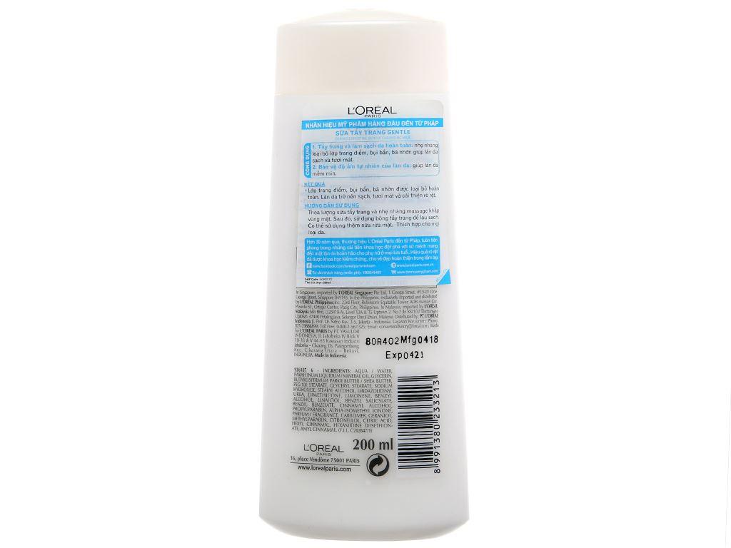 Sữa tẩy trang L'Oréal giữ ẩm, trắng da 200ml 2
