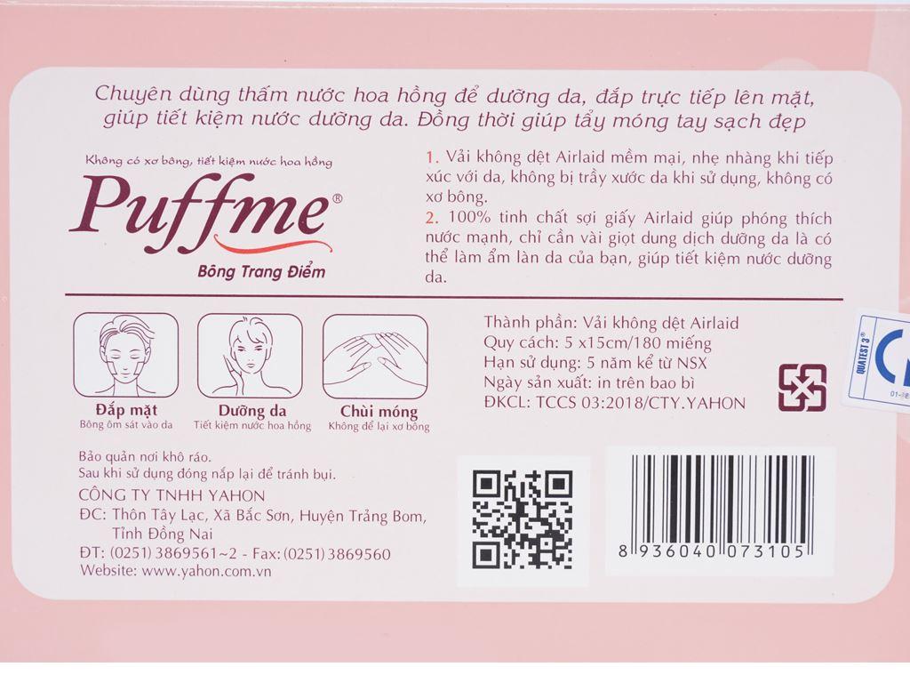 Bông trang điểm Puffme dưỡng da chuyên dụng hộp 180 miếng 3