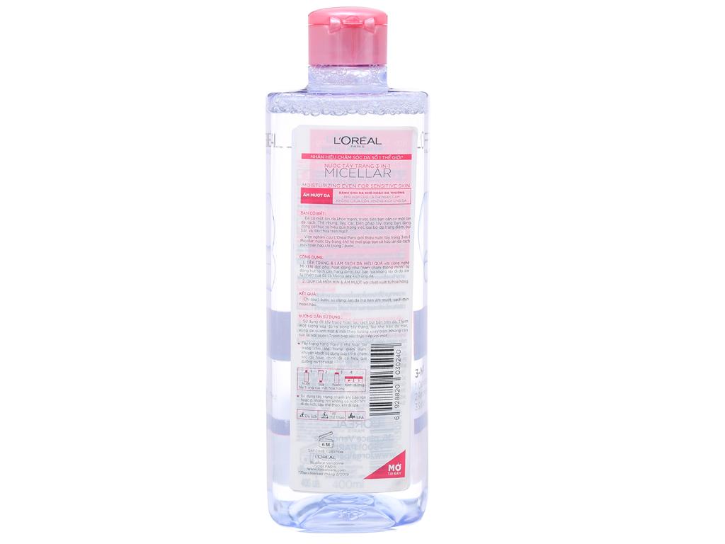 Nước tẩy trang 3 in 1 L'Oréal Micellar ẩm mượt da 400ml 2