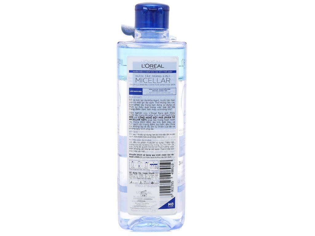 Nước tẩy trang 3 in 1 L'Oréal Micellar làm sạch sâu 400ml 2