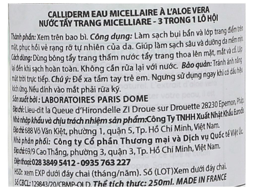 Nước tẩy trang 3 in 1 Calliderm Micellar chiết xuất lô hội 250ml 3