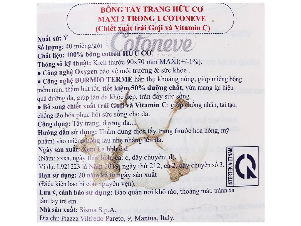 Bông tẩy trang Cotoneve Aqua Life Maxi 2 trong 1 túi 40 miếng 3