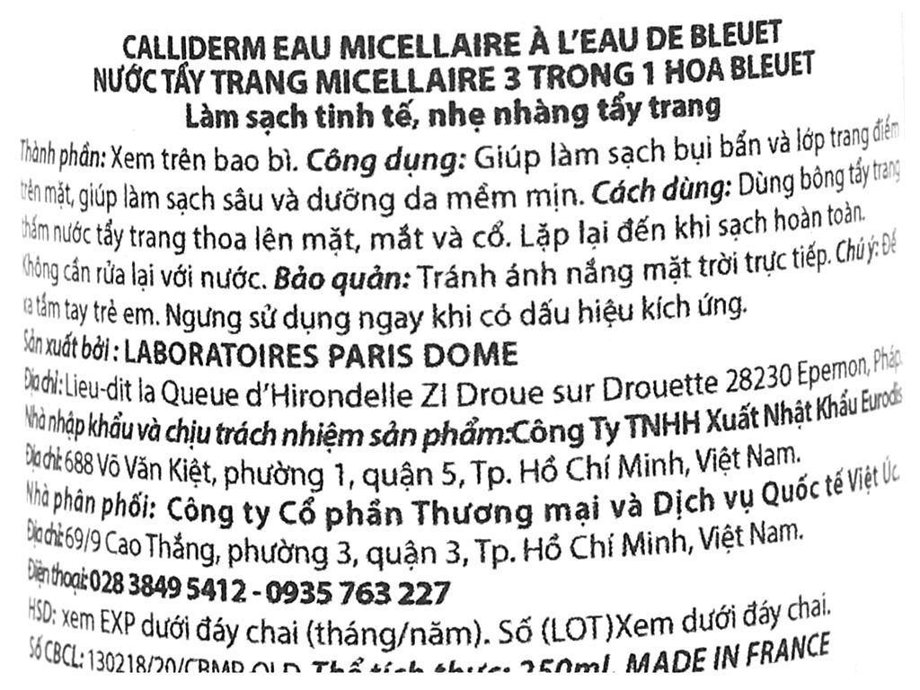 Nước tẩy trang 3 in 1 Calliderm Micellar chiết xuất hoa bleuet 250ml 3