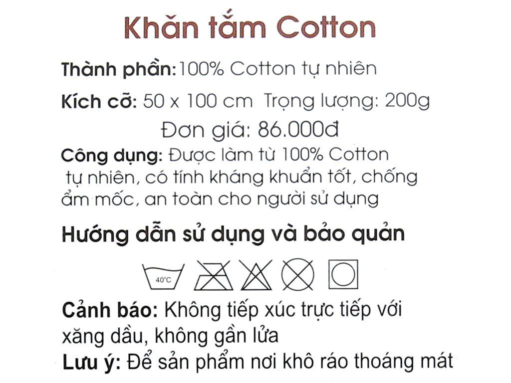 Khăn tắm cotton cỡ nhỏ Viet Hope 50cm x 96cm (giao màu ngẫu nhiên) 5