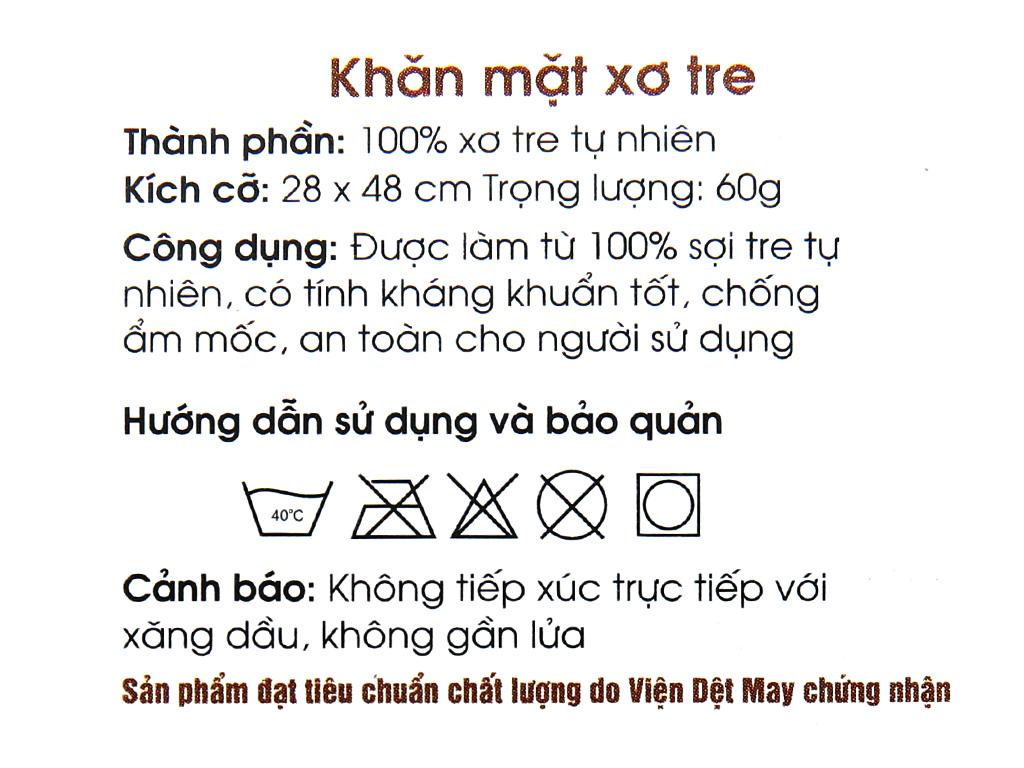 Khăn mặt vải sợi tre Viet Hope 28 x 47cm (giao màu ngẫu nhiên) 5