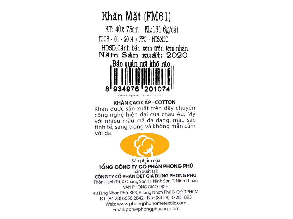 Khăn mặt cotton Mollis FM61 40cm x 75cm (giao màu ngẫu nhiên) 5