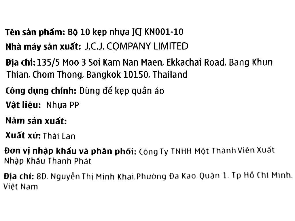 Vỉ 10 kẹp áo quần nhựa Thái Lan JCJ KN001-10 6
