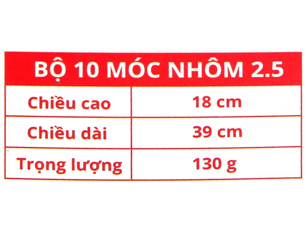 Bộ 10 móc nhôm trẻ em Mega Home 2.5A 6