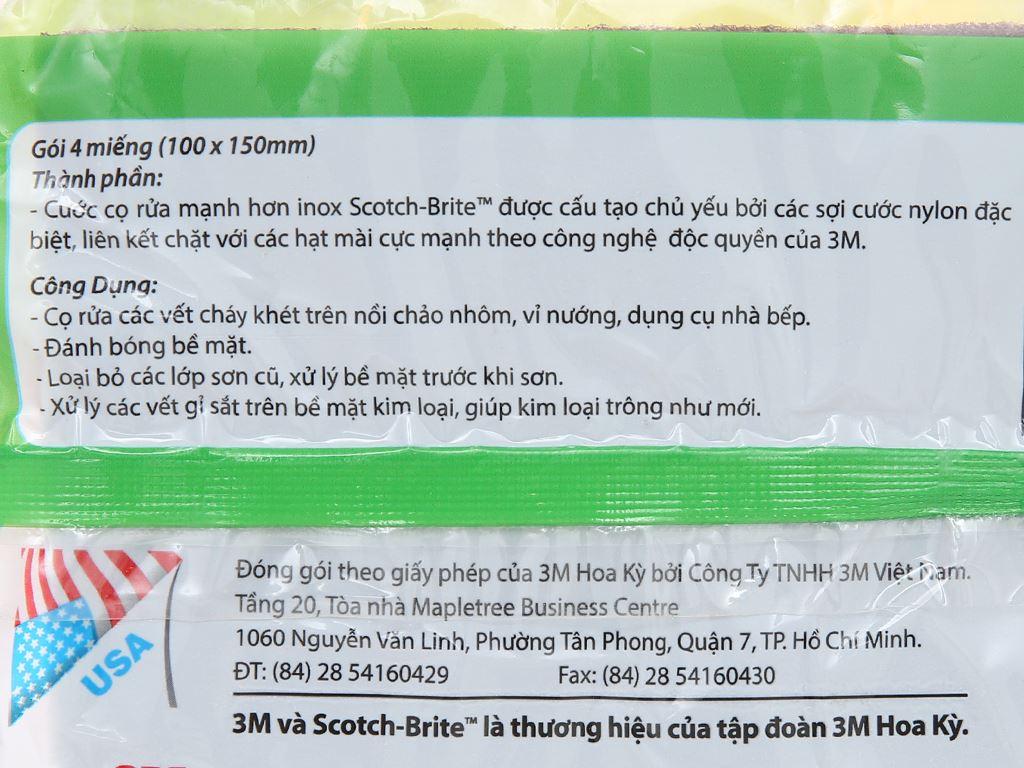 Gói 4 miếng cước cọ rửa Scotch Brite mạnh hơn inox 7