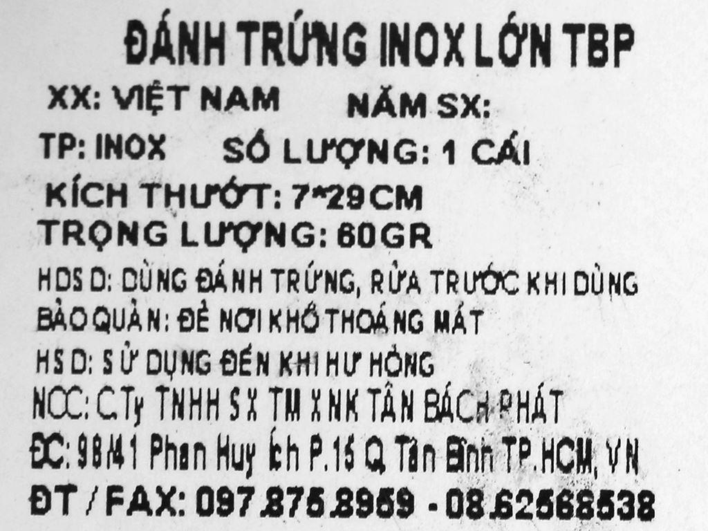 Cây đánh trứng inox 7cm x 29cm Tân Bách Phát 6