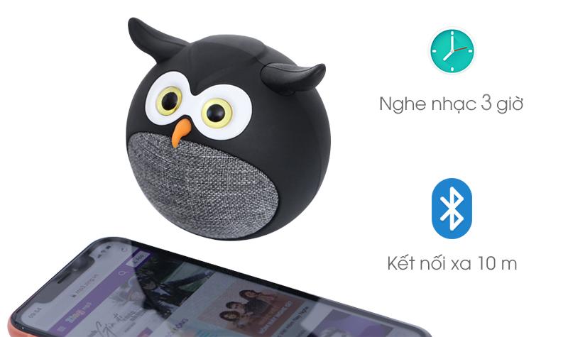 Loa Bluetooth iCutes MB-M916 Cú Đen cho khả năng nghe nhạc lên đến 3 giờ