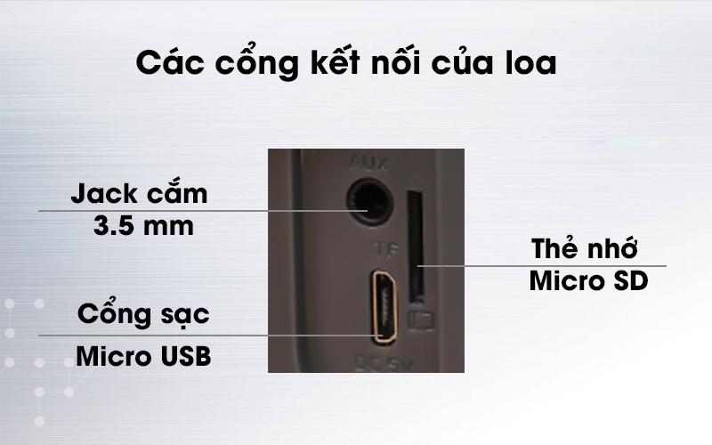 Loa Bluetooth Mozard Y550 Xám trang bị cổng sạc là cổng Micro USB