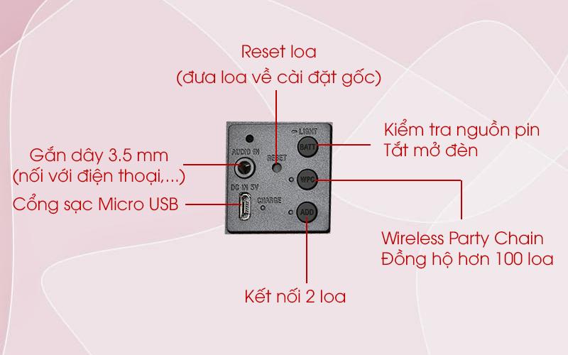 Loa bluetooth Sony SRS-XB22 có cổn kết nối Micro USB