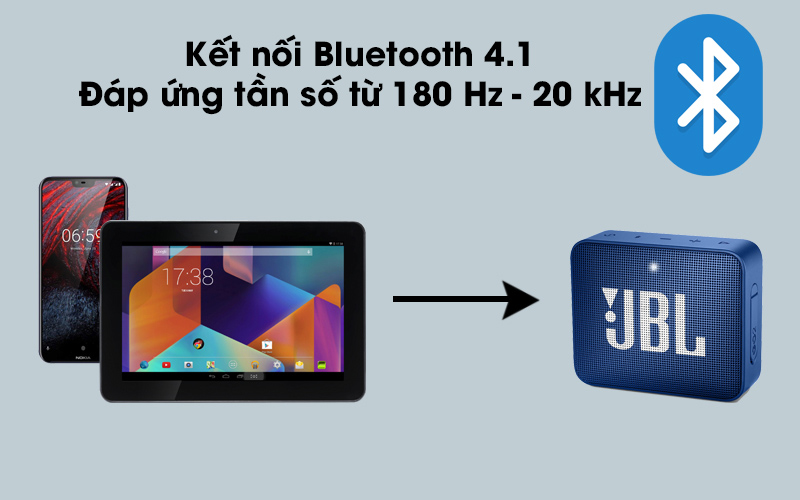 Loa Bluetooth JBL GO2BLK kết nối với thiết bị thông qua Bluetooth
