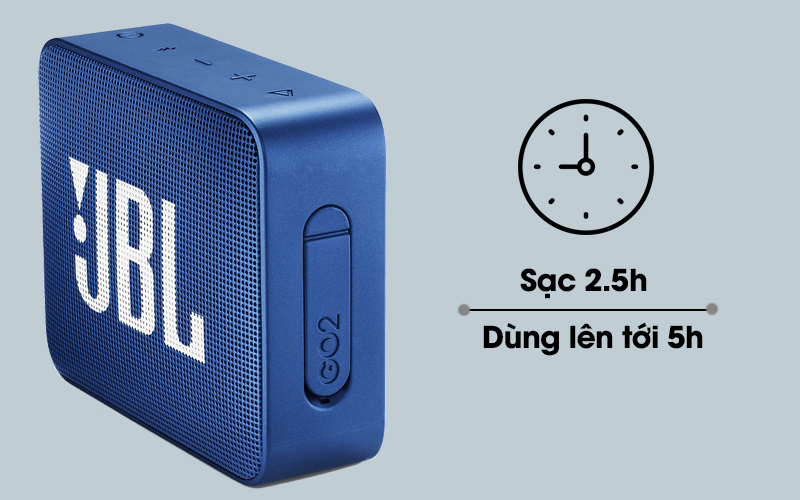 Loa Bluetooth JBL GO2BLK có thời lượng pin lên đến 5 giờ