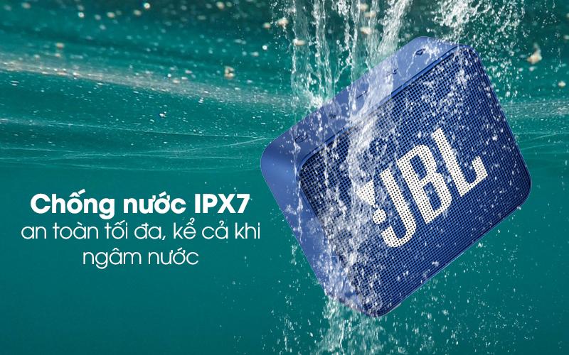 Loa Bluetooth JBL GO2BLK có chuẩn chống nước IPX7