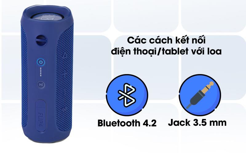 Loa Bluetooth JBL FLIP4BLU có thể kết nối với điện thoại qua jack cắm 3.5mm