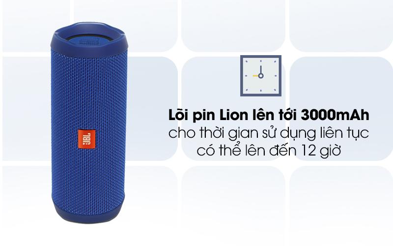 Loa Bluetooth JBL FLIP4BLU với pin có dung lượng 3000 mAh