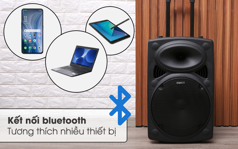 Kết nối bluetooth tương thích nhiều thiết bị - Loa Kéo Bluetooth Enkor L1218K Đen