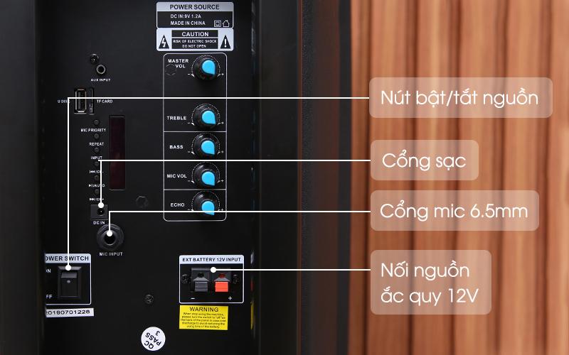 Có cổng cắm micro 6.5mm - Loa Kéo Bluetooth Enkor L1218K Đen