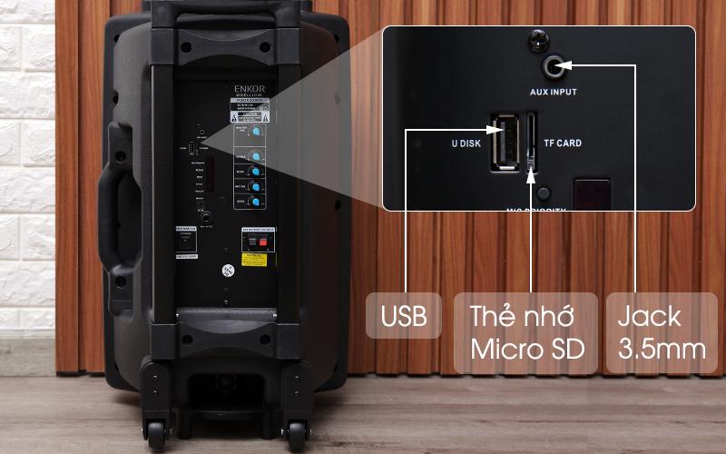 Các cổng kết nối phát nhạc trên loa - Loa Kéo Bluetooth Enkor L1218K Đen
