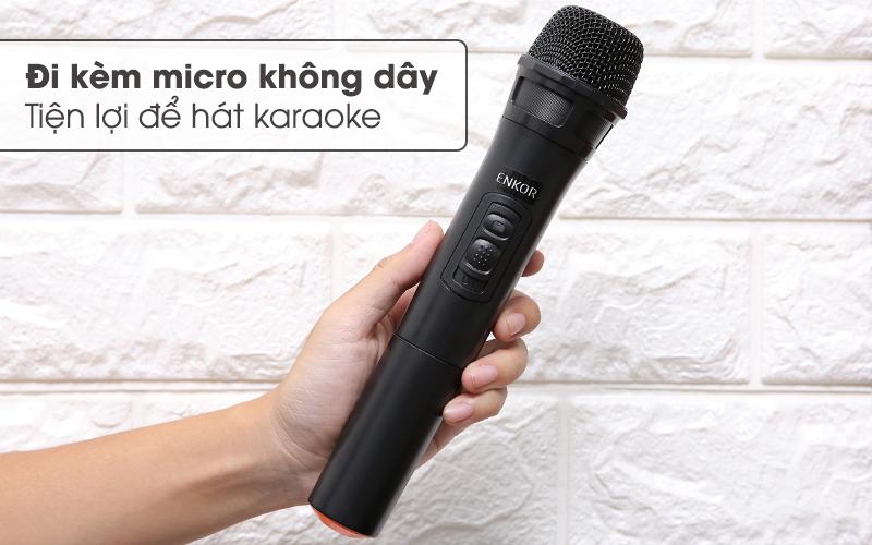 Kèm theo micro không dây hát karaoke - Loa Kéo Bluetooth Enkor L1218K Đen