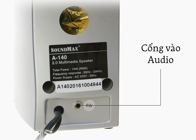 Loa vi tính SoundMax A140-2.0 - Phím điều chỉnh và cổng kết nối trên loa