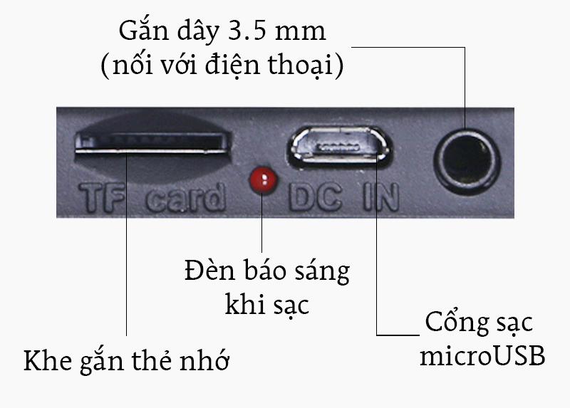 Loa Bluetooth Fenda W7 - Cổng kết nối và các nút bấm trên loa