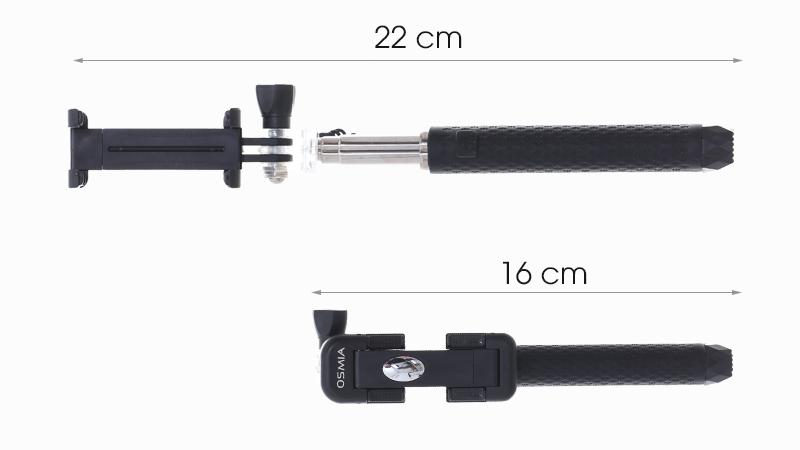 Gậy chụp ảnh Osmia OW4 - Độ dài chênh lệch khi mở phần để điện thoại