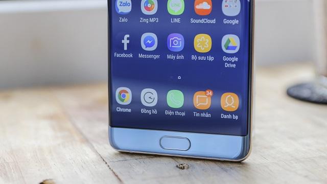 Bảo mật vân tay tích hợp ở nút Home trên điện thoại Samsung Galaxy Note FE