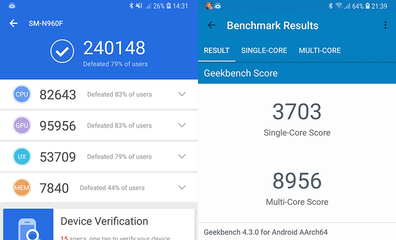 Điểm Antutu trên điện thoại Samsung Galaxxy Note 9