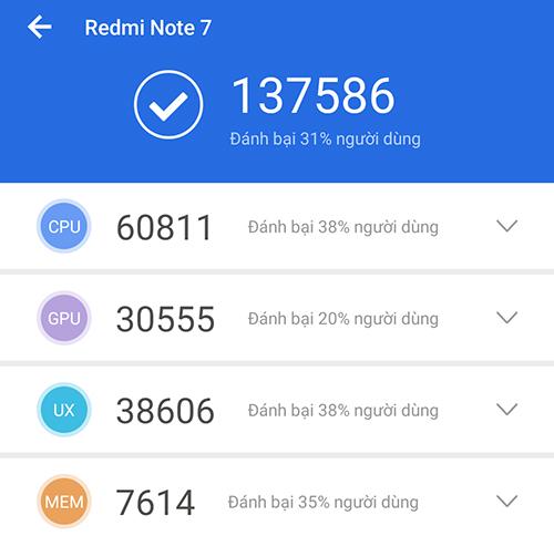 Điểm Antutu - Điện thoại Xiaomi Redmi Note 7 4GB 64GB