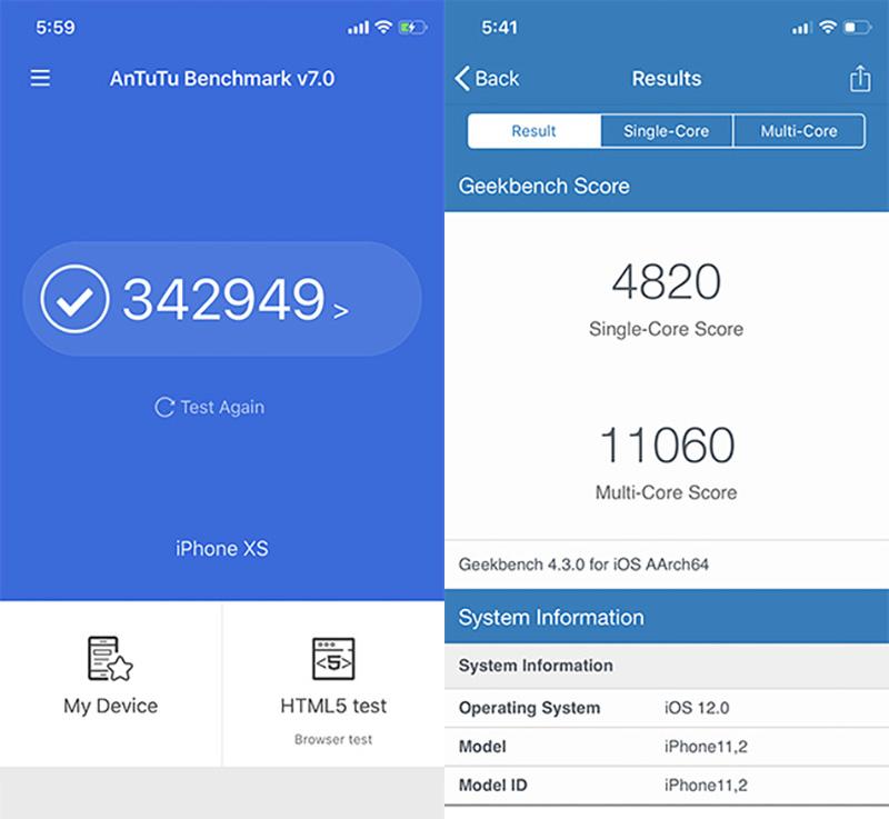 Điểm Antutu Benchmark trên iPhone Xs