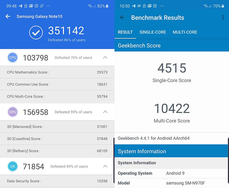 Điện thoại Samsung Galaxy Note 10 | Điểm hiệu năng Antutu