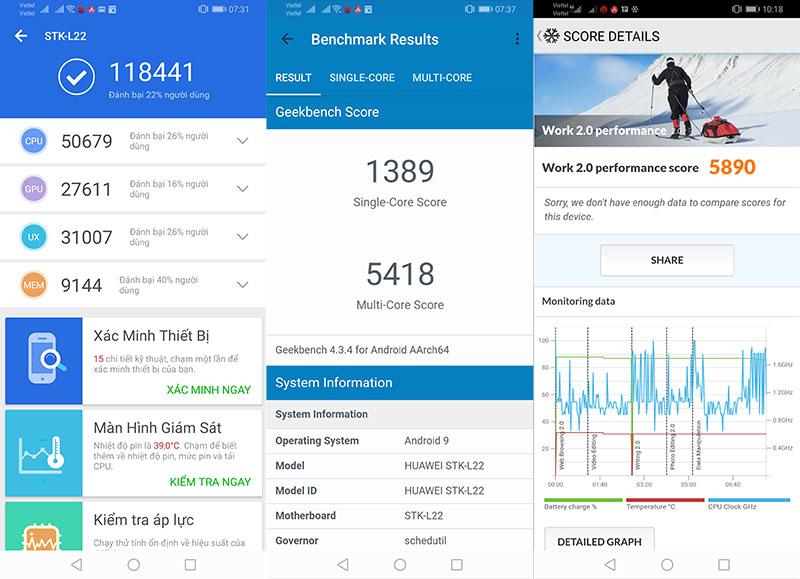 Điểm Antutu Benchmark điện thoại Huawei Y9 2019