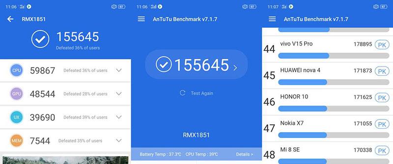 Điểm hiệu năng Antutu Benchmark điện thoại Realme 3 Pro chính hãng