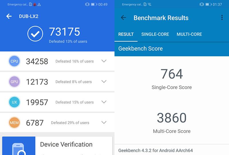 Điểm hiệu năng Antutu Benchmark trên Huawei Y7 Pro 2019 chính hãng