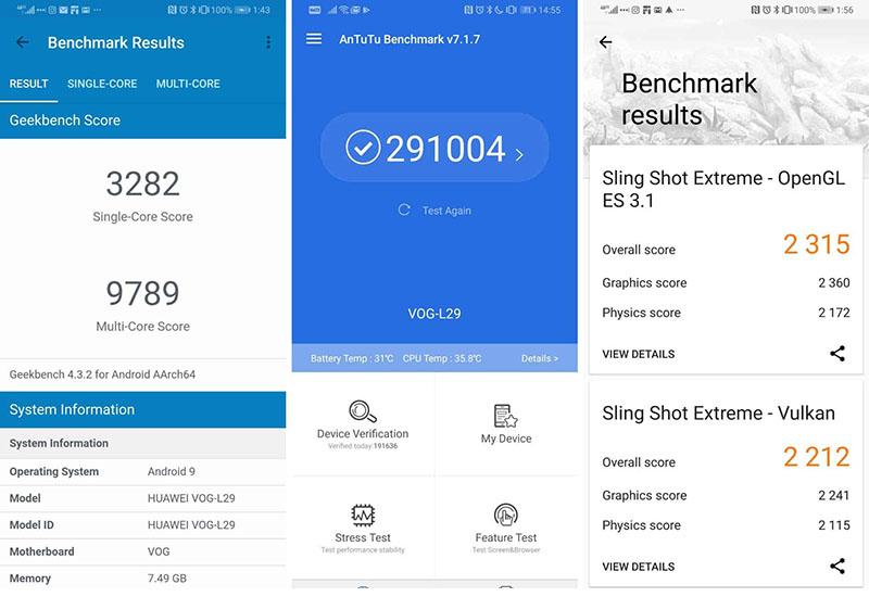 Điểm hiệu năng Antutu Benchmark của điện thoại Huawei P30 Pro chính hãng