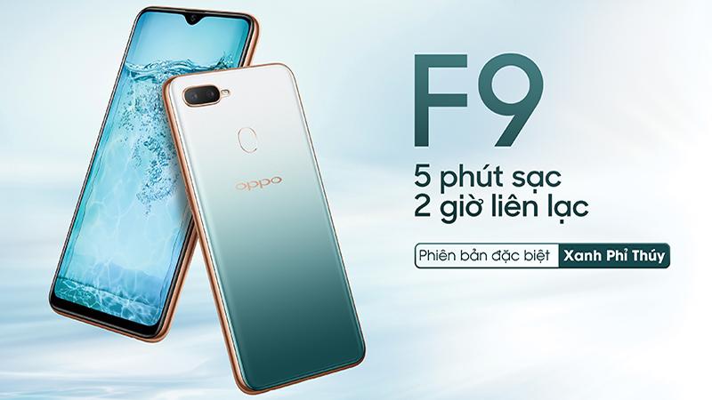 Thiết kế điện thoại OPPO F9 Xanh Phỉ Thuý chính hãng