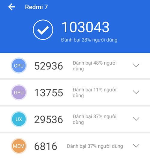 Xiaomi Redmi 7 32GB | Điểm Antutu