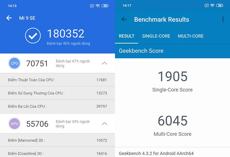 Điện thoại Xiaomi Mi 9 SE | Điểm Antutu Benchmark
