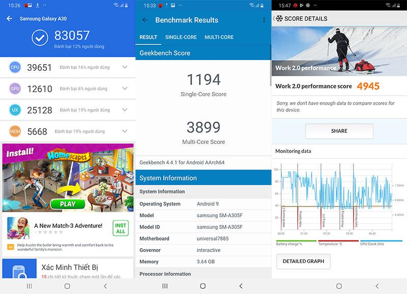 Điện thoại Samsung Galaxy A30 chính hãng | Điểm Antutu Benchmark